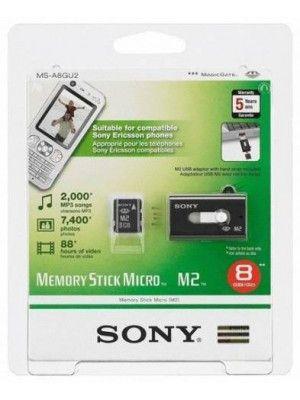 MS-A8GU SONY 8GB MEMORY STICK MICRO M2  With USB Adaptor