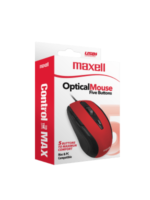 MOWR-105 OPTICAL MOUSE FIVE BUTTON RED